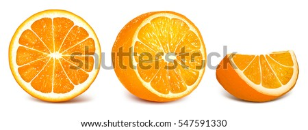 Oranges Orange Slice Half Cut Orange Stock Vector ...