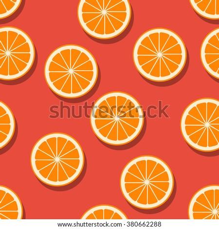 Oranges seamless pattern. Vector illustration. - stock vector
