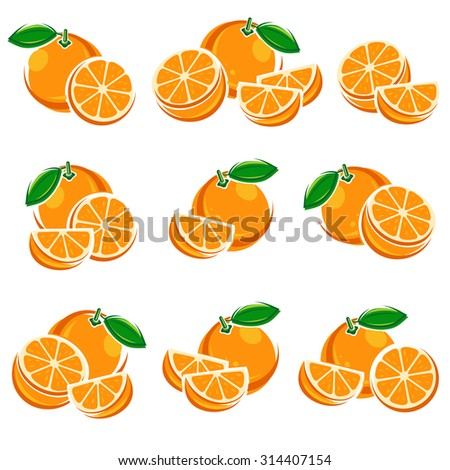 Oranges set. Vector - stock vector