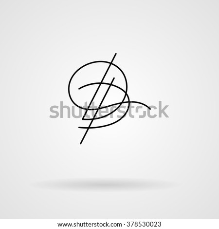 Orante lined letter inscribed in Art Nouveau style. Logo. Monogram. Calligraphic signature.