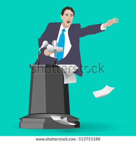 Orator speaks at the podium with microphones. Speaker gestures strong and confident. Speech. A man dressed in a suit. Lecturer, teacher, manager, boss. Image. Vector. Icon.
