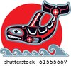 Orca (Killer Whale) in Native Art Style - stock vector