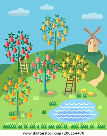 Orchard. Fruit garden. Pear tree with ladder, pond, . Summer landscape. Blueberry field. - stock vector