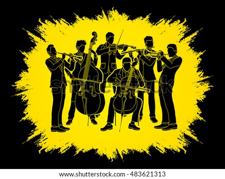 Orchestra player design on grunge frame background graphic vector