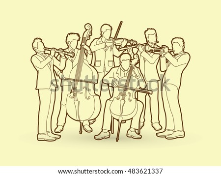 Orchestra player design using outline graphic vector