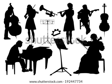 Orchestra silhouettes - stock vector