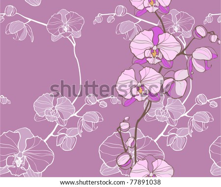orchid -floral seamless pattern - stock vector