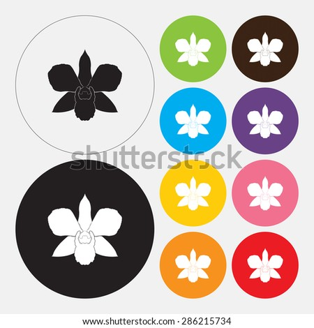 Orchid flower icon - Vector - stock vector