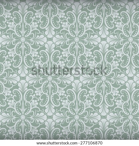 Orchid flower pattern in Damask style with vintage color, Seamless Damask wallpaper - stock vector