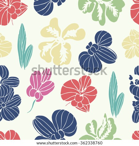 Orchid. Multicolored flowers. Background, texture, seamless - stock vector