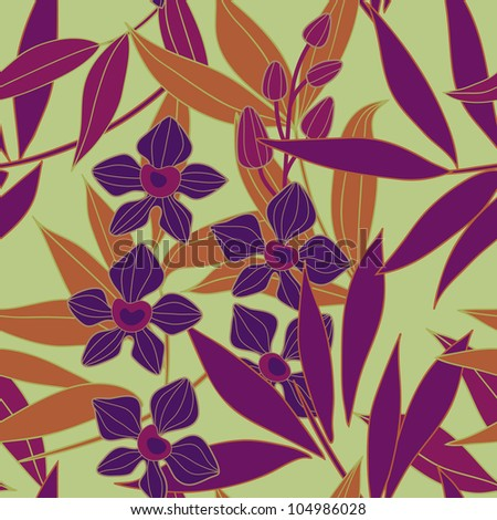 Orchid  seamless vector pattern - stock vector