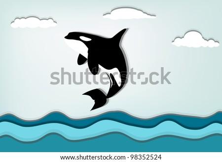 Orcinus orca Killer whale jumping high, eps10 vector - stock vector