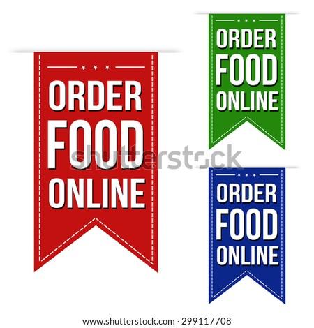 Order food online banner design set over a white background, vector illustration - stock vector