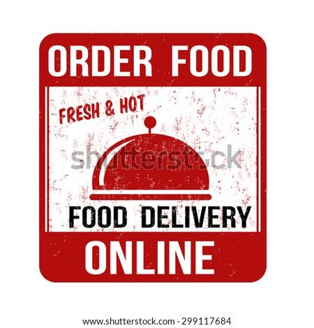 Order food online grunge rubber stamp on white background, vector illustration - stock vector
