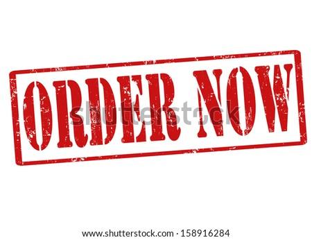 Order now grunge rubber stamp on white, vector illustration - stock vector