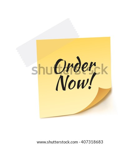 Order Now Stick Note Vector Illustration