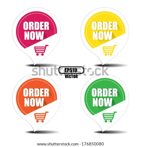 Order now with shopping cart colorful stickers and labels set - Vector illustration, EPS10 - stock vector