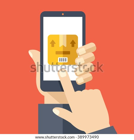 Order tracking app on smartphone screen. Package tracking. Hand holding smartphone, finger touch screen. Modern concept for web banner, web sites, infographic. Creative flat design vector illustration - stock vector