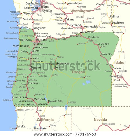 Oregon Map Shows State Borders Urban Stock Vector 779176963