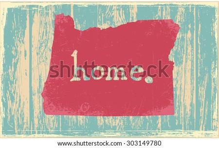 Oregon nostalgic rustic vintage state vector sign - stock vector