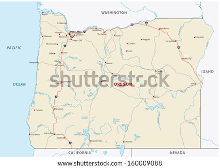 oregon road map - stock vector