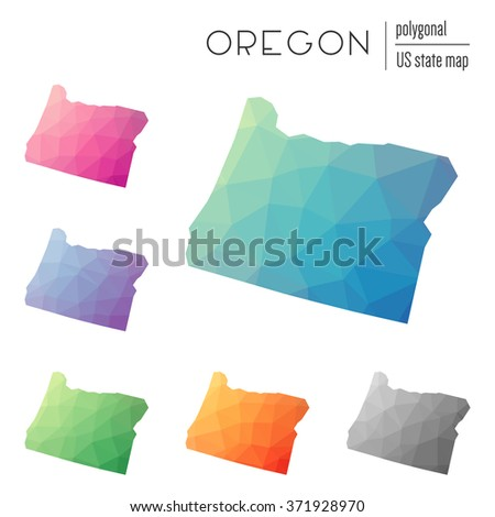 Oregon State Map In Geometric Polygonal Style Set Of Oregon State Maps Filled With Abstract