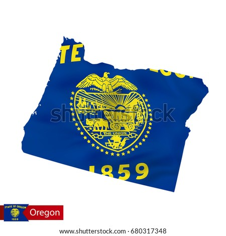 Oregon State Map With Waving Flag Of Us State Vector Ilration