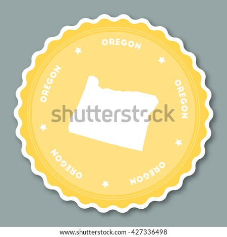 Oregon Sticker Flat Design Round Flat Style Badges Of Trendy Colors With The State Map