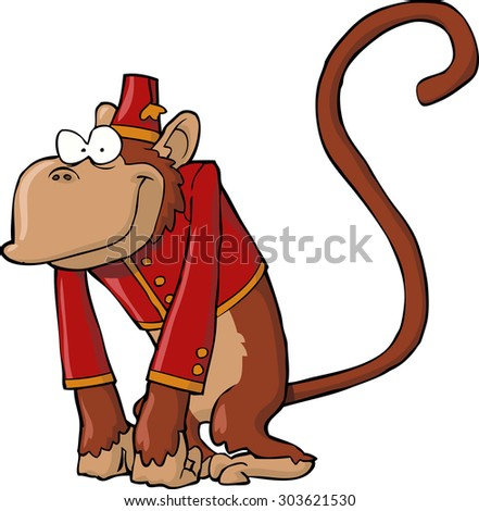 Organ grinder monkey on a white background vector illustration - stock vector