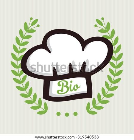 Organic and bio food badge with Laurel wreath - stock vector