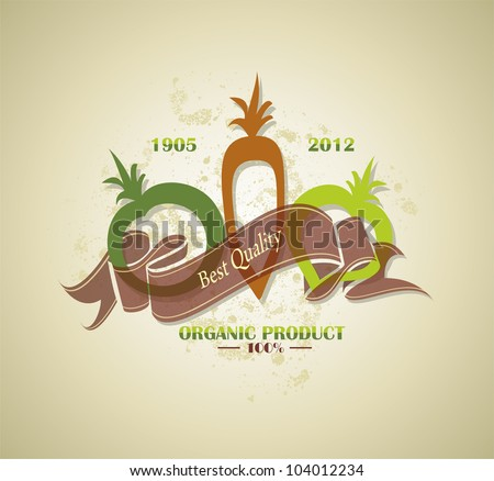 organic and farm fresh food badge or label - stock vector