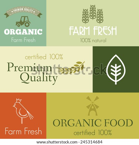 Organic and farm fresh food badges and labels - stock vector