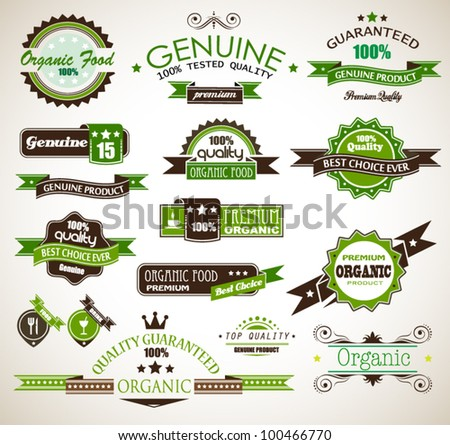 Organic and Genuine product premium labels. Many different style with space for your text. - stock vector