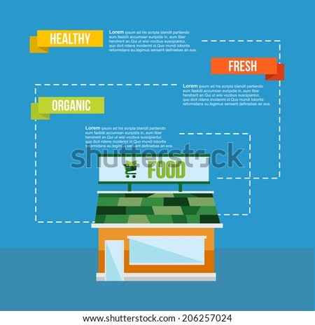 Organic and healthy food concept info graphic with fresh market house and think green elements. EPS10 vector file organized in layers for easy editing. - stock vector