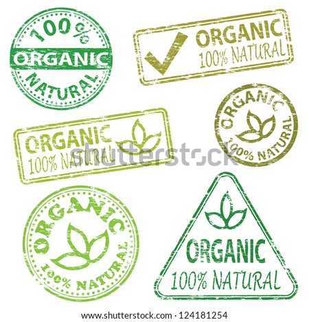 Organic and natural food. Rubber stamp vector illustrations - stock vector