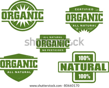 Organic and Natural Stamp Designs - stock vector