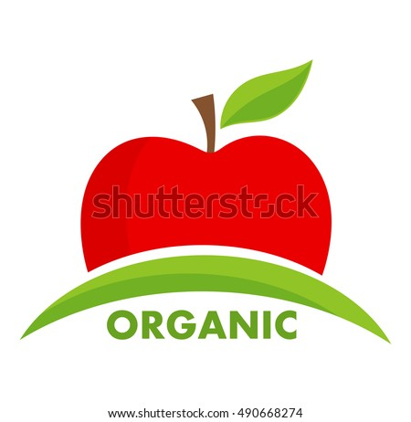 Organic apple logo or icon. Vector illustration