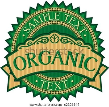 organic badge - label (stamp) - stock vector