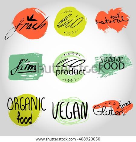 Organic,bio,vegan frash eco natural shape set. Organic food labels vector set. Fresh healthy food icons. lables for restaurant menu or food package design ,grunge Badges, Hand drawing painting  - stock vector