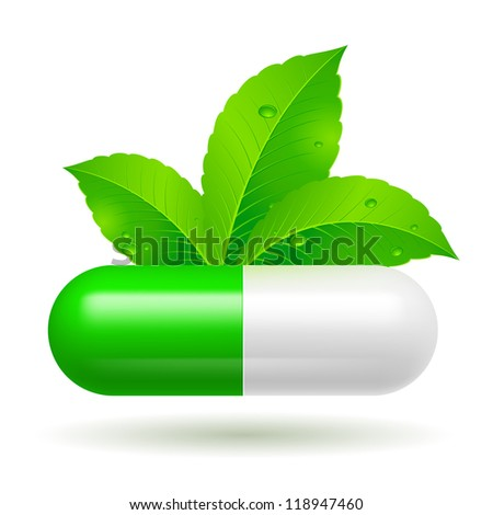 Organic capsule with green Leaves. Illustration on white - stock vector