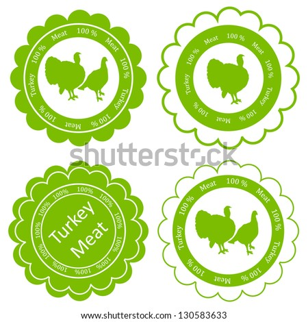 Organic farm and forest turkey meat food labels illustration collection