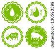 Organic farm dairy goats cheese, milk and meat food labels illustration collection - stock vector