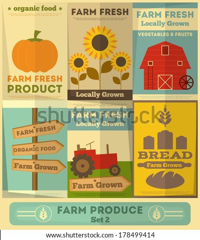Organic Farm Food Posters Set. Retro Placard in Flat Design Style. Vector Illustration. - stock vector