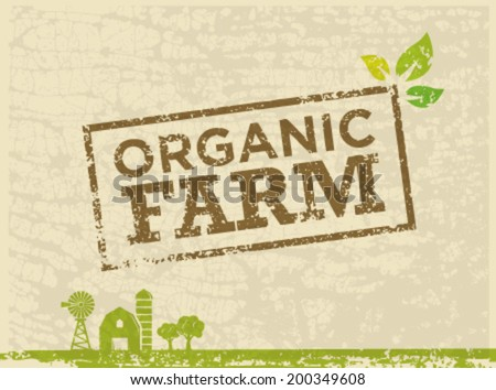 Organic Farm Fresh Healthy Food Eco Green Vector Concept on Textured Background - stock vector