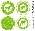 Organic farm horse meat food labels illustration collection - stock vector