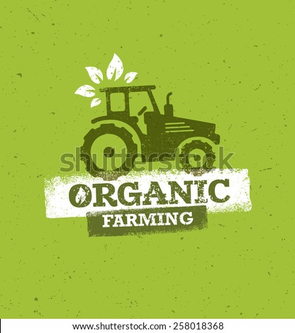 Organic Farming Eco Tractor Creative Vector Concept on Recycled Paper Background - stock vector