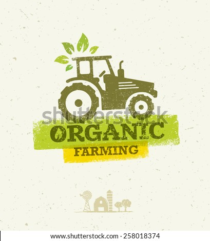 Organic Farming Eco Tractor Creative Vector Concept on Recycled Paper Background