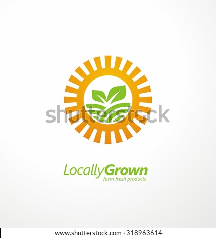 Organic farming logo design concept.  Creative symbol concept with sun and sprout on the field. Farm fresh products unique sign or icon art.  - stock vector