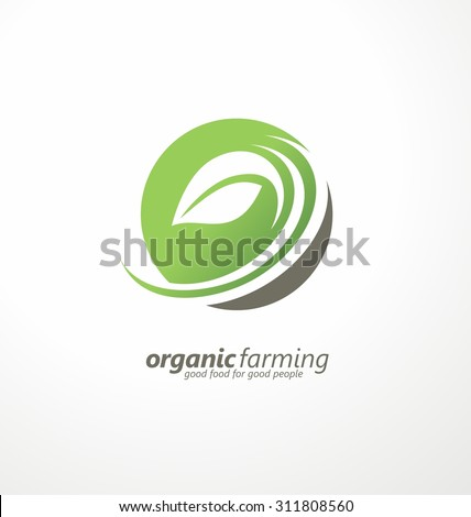 Organic farming logo design idea. Good food for good people creative symbol concept. Farm fresh products unique sign or icon art.  - stock vector