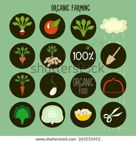 organic farming logos stamps vector illustration stock vector